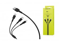 USB D.CABLE BOROFONE BX16 charging cable 3-in-1 for Type-C/Lightning/Micro 2.4A (черный) 1 метр